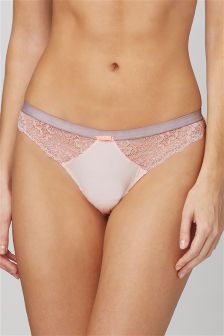 Microfibre And Lace Thong