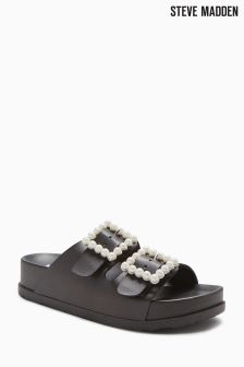 Steve Madden Black Pearl Trim Buckle Slider