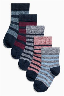 Twisted Stripe Socks Five Pack (Younger Boys)