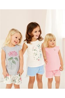 Flower Short Pyjamas Three Pack (9mths-8yrs)