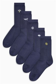 Motif Ankle Socks Five Pack