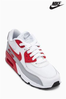 Nike White/Red Air Max 90 Mesh