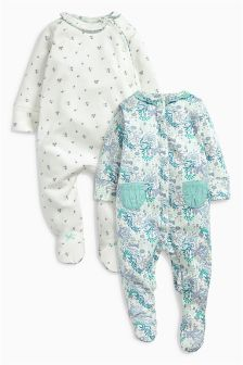 Lilac/Teal All Over Print Sleepsuits Two Pack (0mths-2yrs)