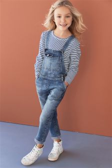 Denim Long Leg Dungarees (3-16yrs)