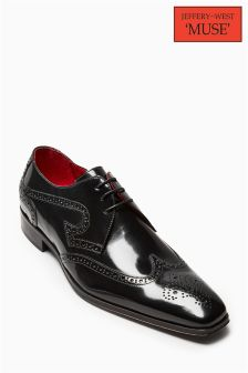 Jeffery West Black Hi Shine Derby Brogue