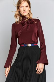 Long Sleeve Tie Neck Top