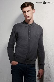 Pretty Green Button Through Knitted Polo