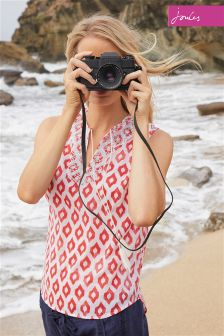 Joules Otille Soft Coral Ikat Sleeveless Top