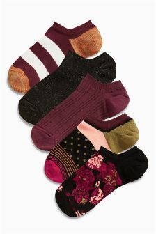 Floral Low Rise Trainer Socks Five Pack