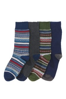 Fairisle Pattern Socks Four Pack