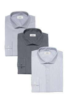 Checked, Striped And Plain Slim Fit Shirts Three Pack