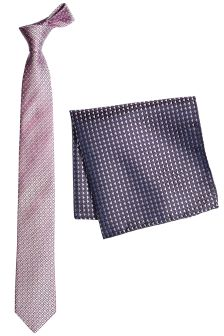 Silk Tie With Pocket Square