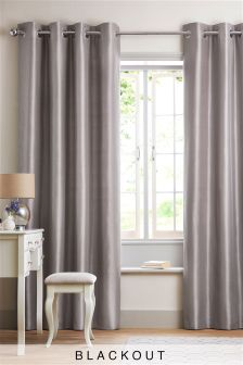 Faux Silk Blackout Eyelet Curtains