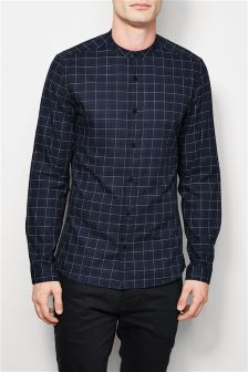 Long Sleeve Windowpane Check Grandad Shirt