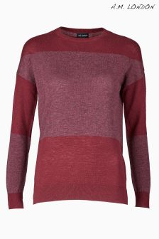 A.M. London Burgundy Panel Jumper