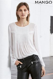 Mango White Pleated Blouse