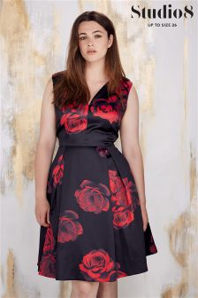 Studio 8 Black Rosetta Floral Print Dress