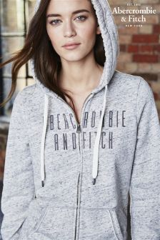 Abercrombie & Fitch Grey Marl Zip Through Hoody