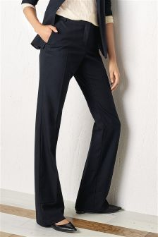 Wool Blend Texture Boot Cut Trousers