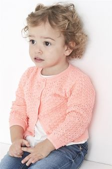 Pointelle Cardigan With Sparkle Tipping (3mths-6yrs)