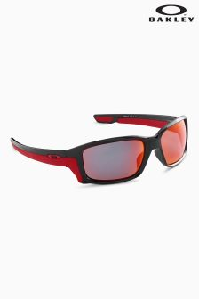 Oakley® Black Red Straightlink Wrap Around Polarized Sunglasses