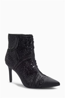 Beaded Point Ankle Boots