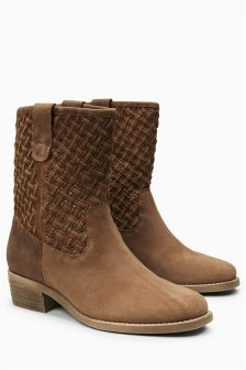 Square Toe Weave Leather Ankle Boots