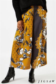Jigsaw Warm Spice Nordic Floral Crepe Culotte