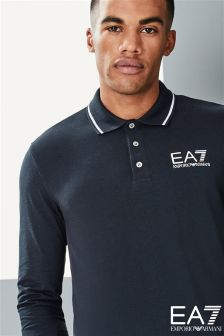 EA7 Emporio Armani Navy ID Long Sleeve Polo