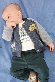 Animal Appliqué Bomber Jacket (0mths-2yrs)