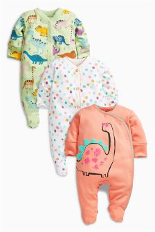 Dinosaur Sleepsuits Three Pack (0mths-2yrs)