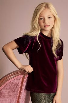 Velour Funnel Neck Top (3-16yrs)