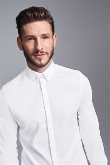 Sateen Long Sleeve Shirt With Silver Collar Pin