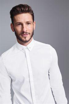 Sateen Long Sleeve Shirt With Silver Collar Pin