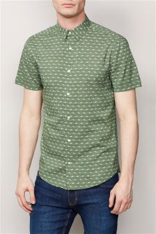 Short Sleeve Wave Print Shirt