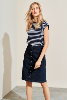 A-Line Utility Denim Skirt