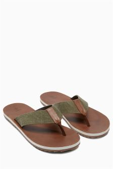Canvas Leather Toe Post