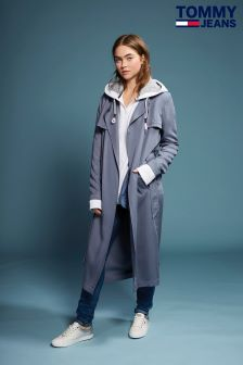 Tommy Hilfiger Denim Grey Fluid Trench Coat