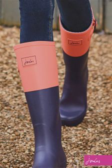 Joules French Navy/Soft Coral Cavendish Welly