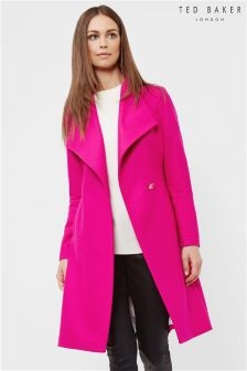 Ted Baker Bright Pink Long Wrap Collar Coat