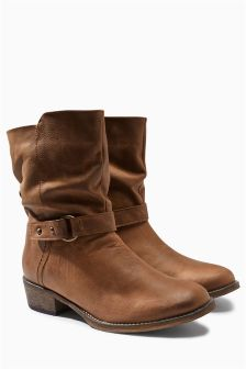 Extra Wide Fit Leather Casual Strap Ankle Boots