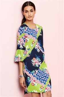 Splice Print Flute Sleeve Dress