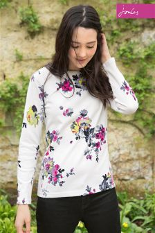 Joules Cream Floral Harbour Jersey Top