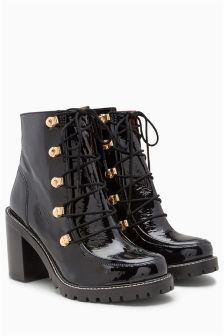 Leather 90s' Style Lace Up Platforms