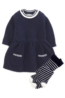 Knitted Dress And Tights Set (0mths-2yrs)