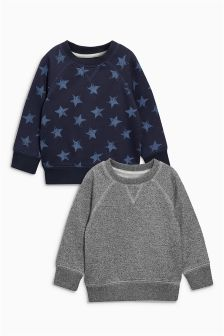 Star Print Crew Neck Two Pack (3mths-6yrs)