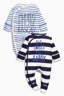 Stripe Mummy And Daddy Sleepsuits Two Pack (0mths-2yrs)