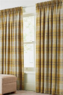 Astley Check Multi Header Lined Curtains