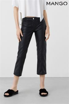 Mango Black Faux Leather Trousers