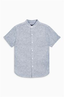 Short Sleeve Dobby Grandad Shirt (3-16yrs)